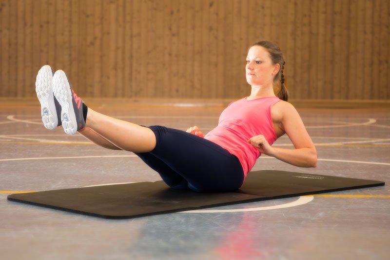 effektives Bauchmuskeltraining, Rudern gestreckt